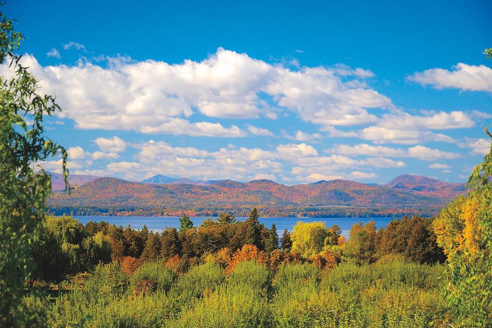 Adirondack mountains across Lake Champlain