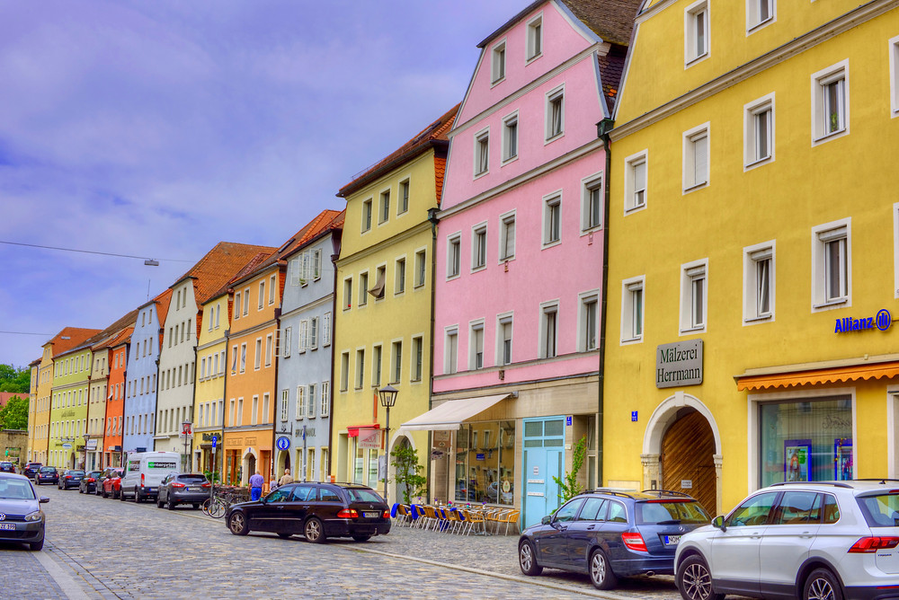 a rainbow of colorful houses in the Stadtamhof neighborhood