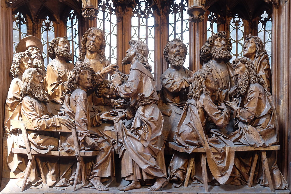 Tilman Riemenschneider, the Last Supper woodcarving in the Altar of the Holy Blood, 1501-05 -- one of Europe's most famous woodcarvings
