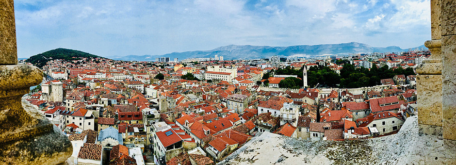 panoramic view of Split from the Bell Tower of Diocletian's Palace