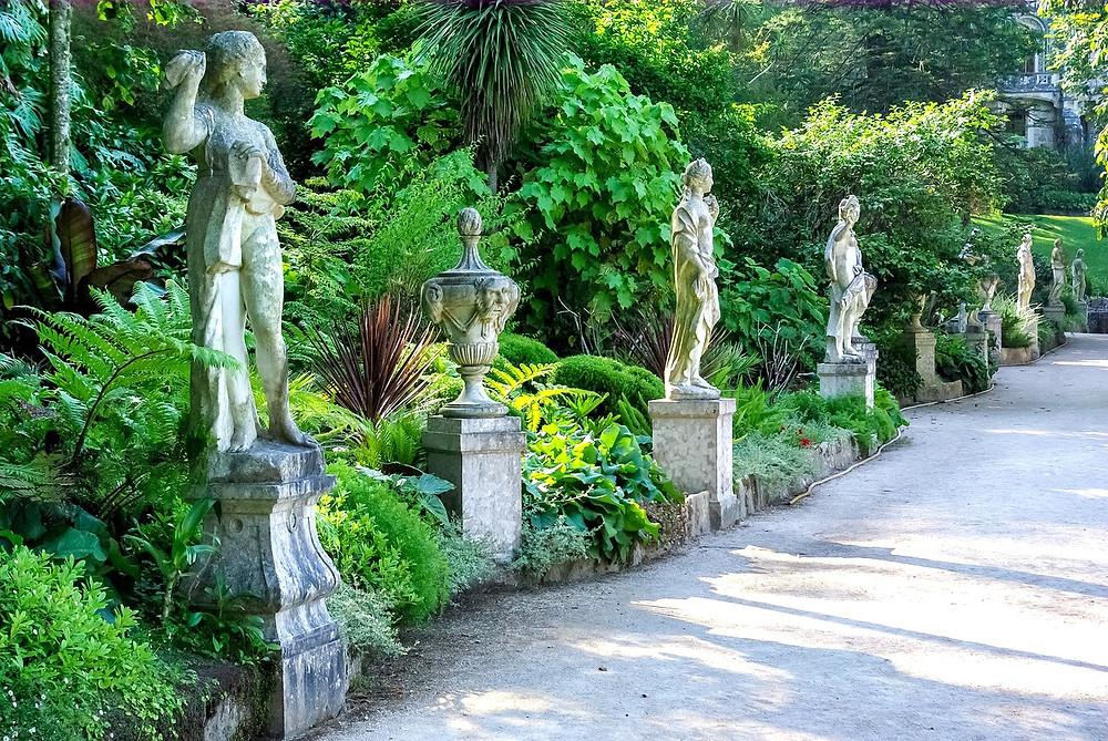statues in the garden of Quinta da Regaleira