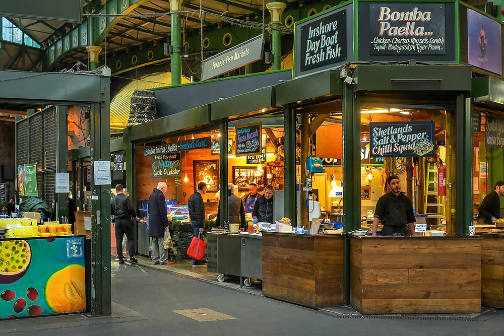 food stalls in London's Borough Market