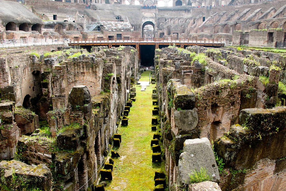the exposed hypogeum of the Colosseum