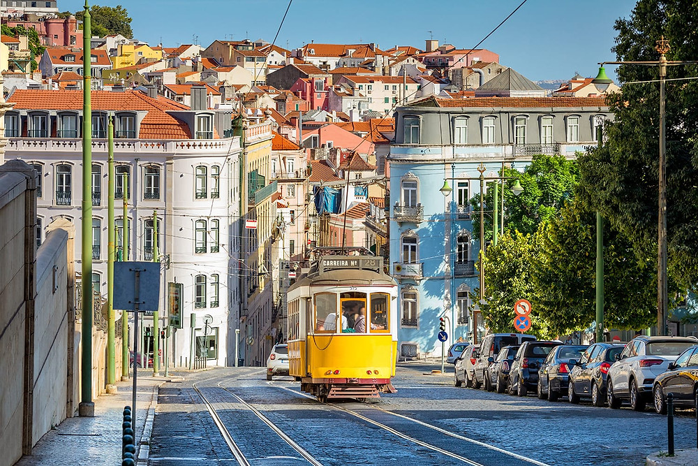 typical tram in Lisbon Portugal