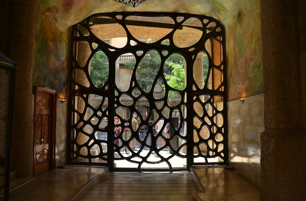 another view of the beautiful wrought iron entrance gate to La Pedrera