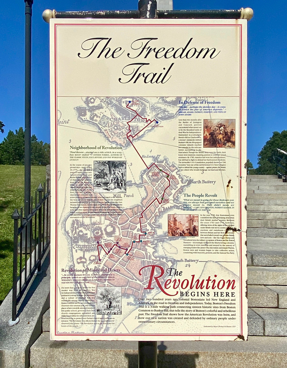 Freedom Trail sign at Bunker Hill in Charlestown