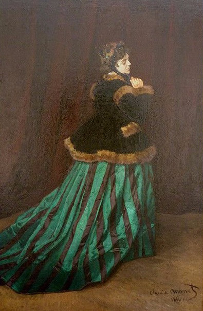 Monet, Woman With a Green Dress, 1866 -- depicting Monet's first wife Camille