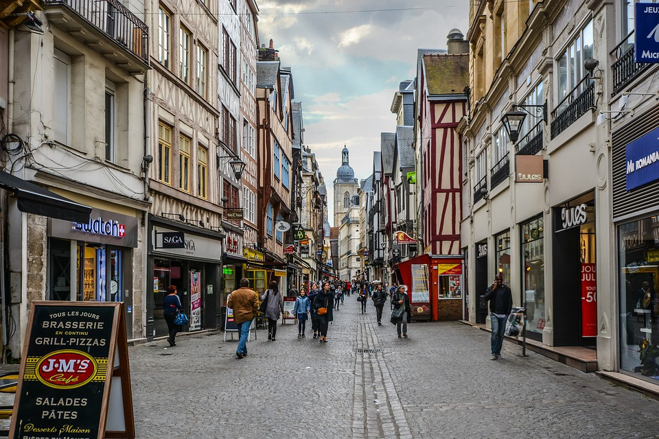 cobbled streets of Rouen France