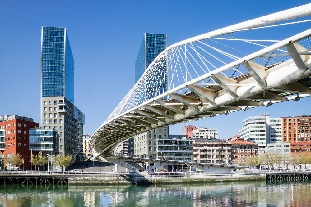 the Zubizuri Bridge in Bilbao