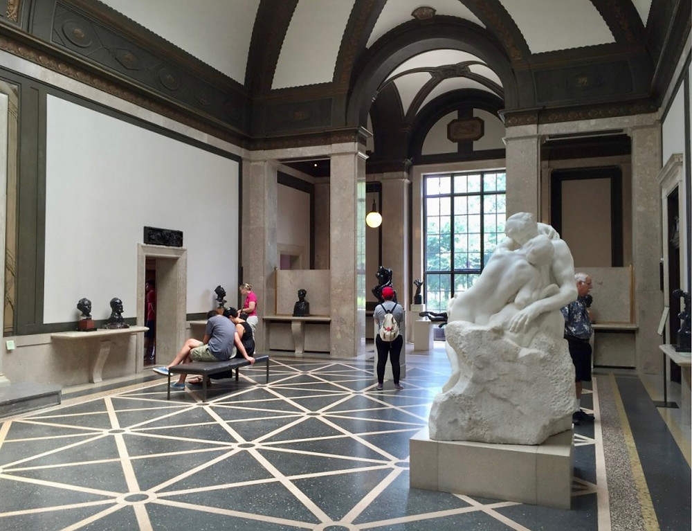 the main gallery of the Rodin Museum, with Henri Greber's copy of Rodin's famous The Kiss