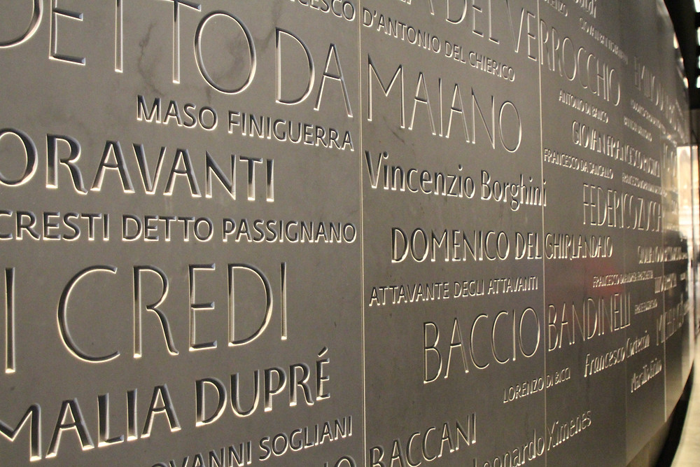 """the """"Wall of Fame"""" in the museum, with the names of all artists who worked on the Duomo"""