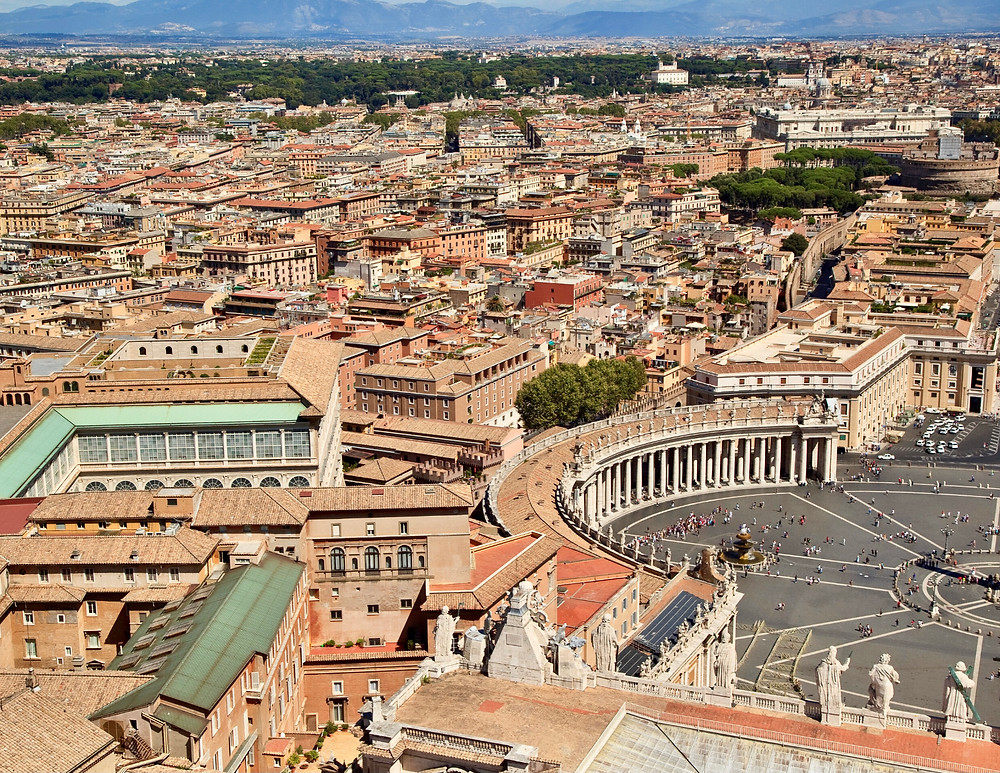 view of the Vatican from the dome of St. Peter's Basilica
