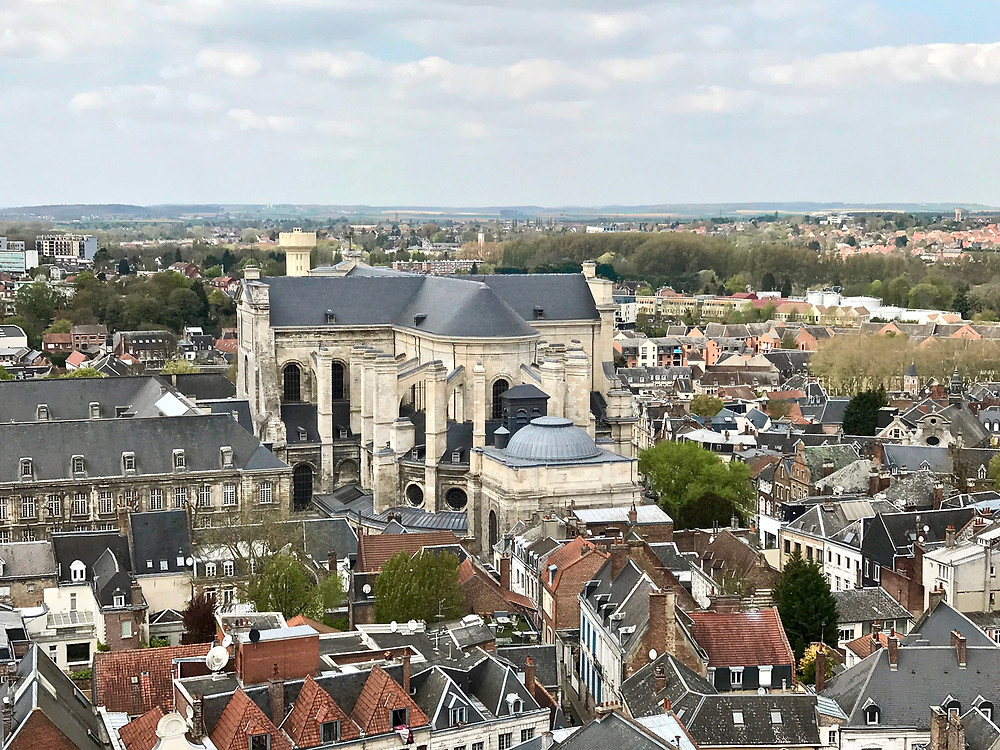 view of Cathedrale St Vaast from the bell tower in Arras