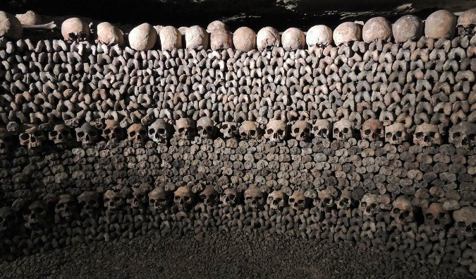 wall of skulls in the Catacombs of Paris