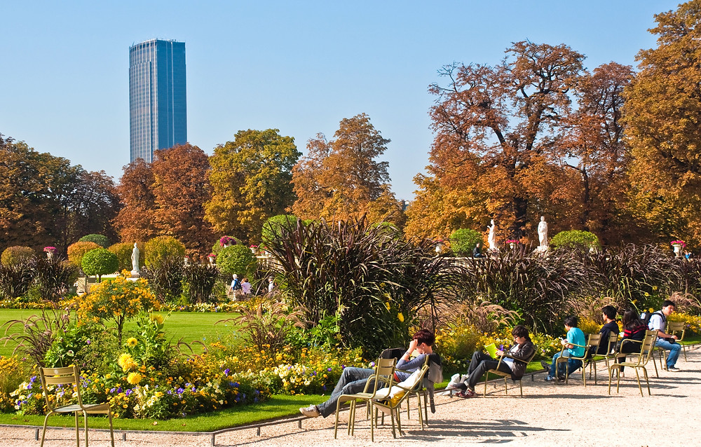 Luxembourg Gardens in Paris with Montparnasse Tower in the background