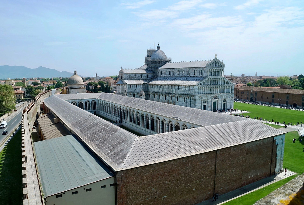 view of the Monumental Cemetery and the Duomo from the medieval city walls