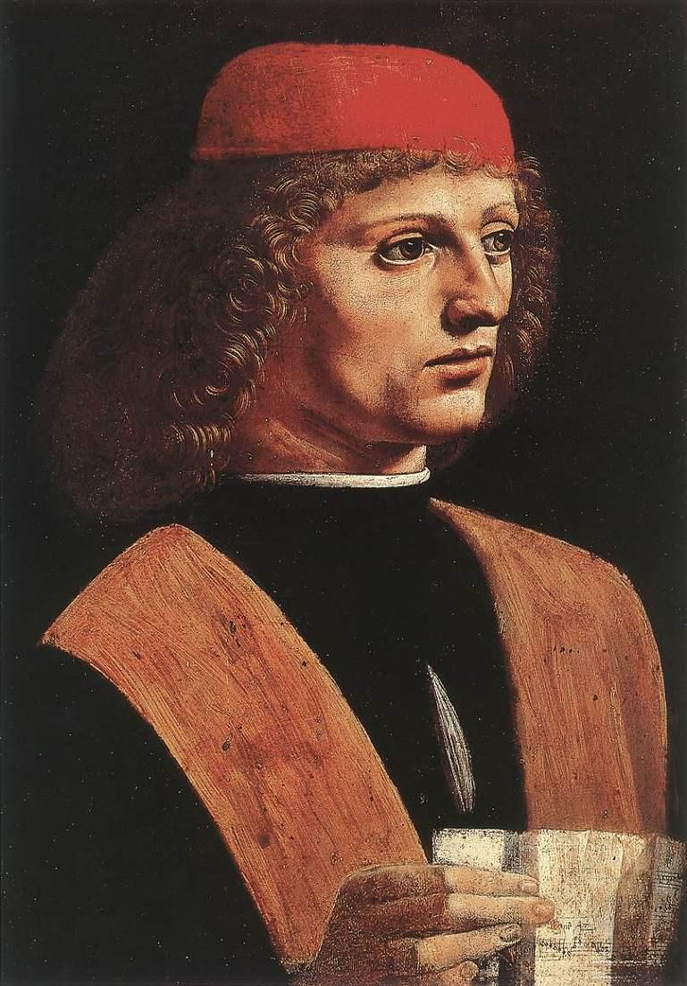 Portrait of a Musician, 1483-87 -- attributed to Leonardo da Vinci
