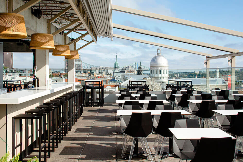 the 8th floor terrace with views at the William Gray Hotel in Vieux Montreal