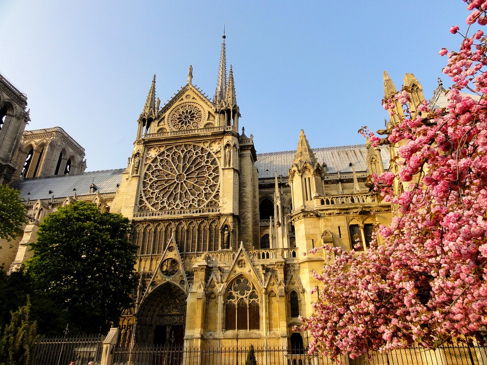 the rose window on the facade of Notre Dame