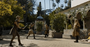 Jaime Lannister confronts the Sand Snakes outside the Charles V Pavilion in the Alcazar Gardens