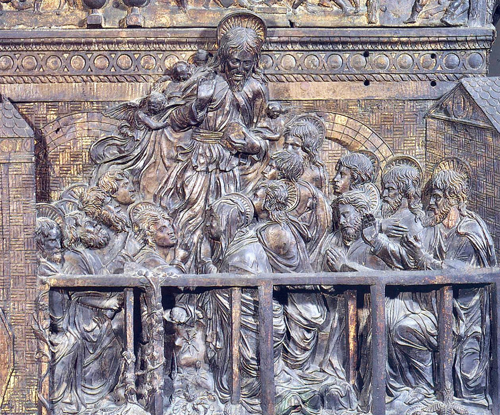 detail of the Ascension of Christ on Donatello's Passion Pulpit