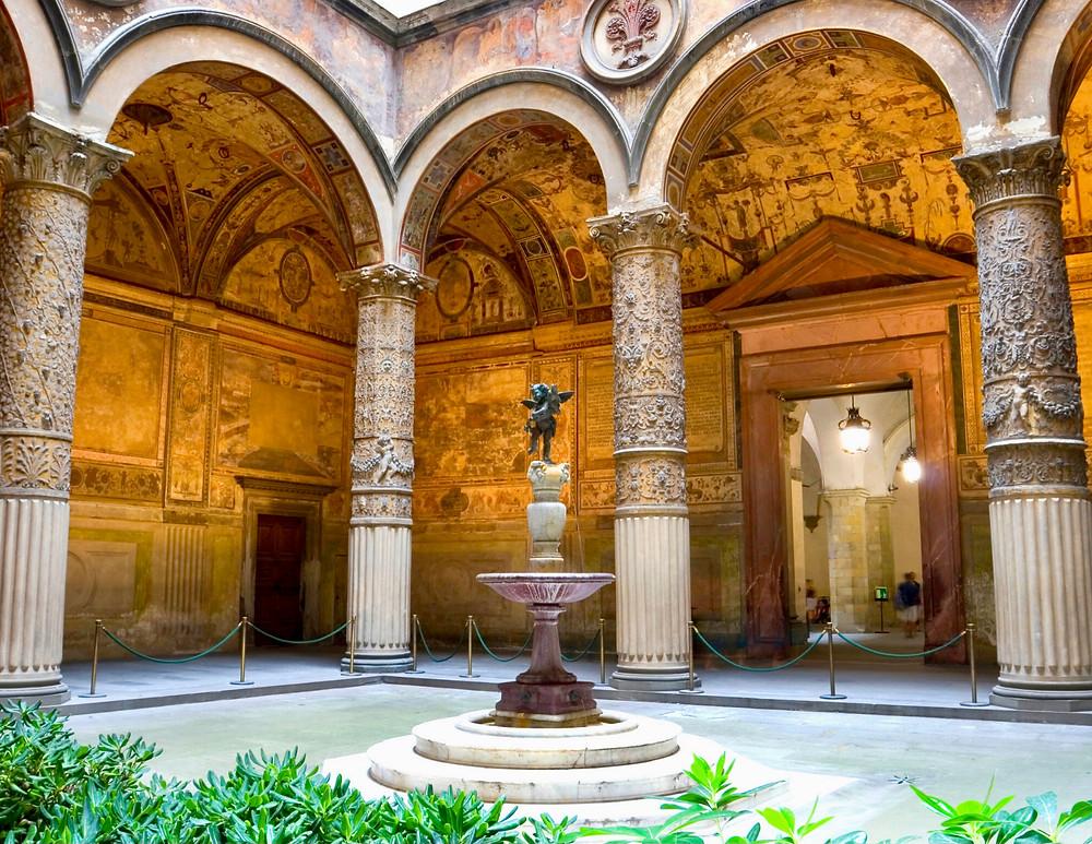 Palazzo Vecchio courtyard, with Verrocchio's famous putti statue