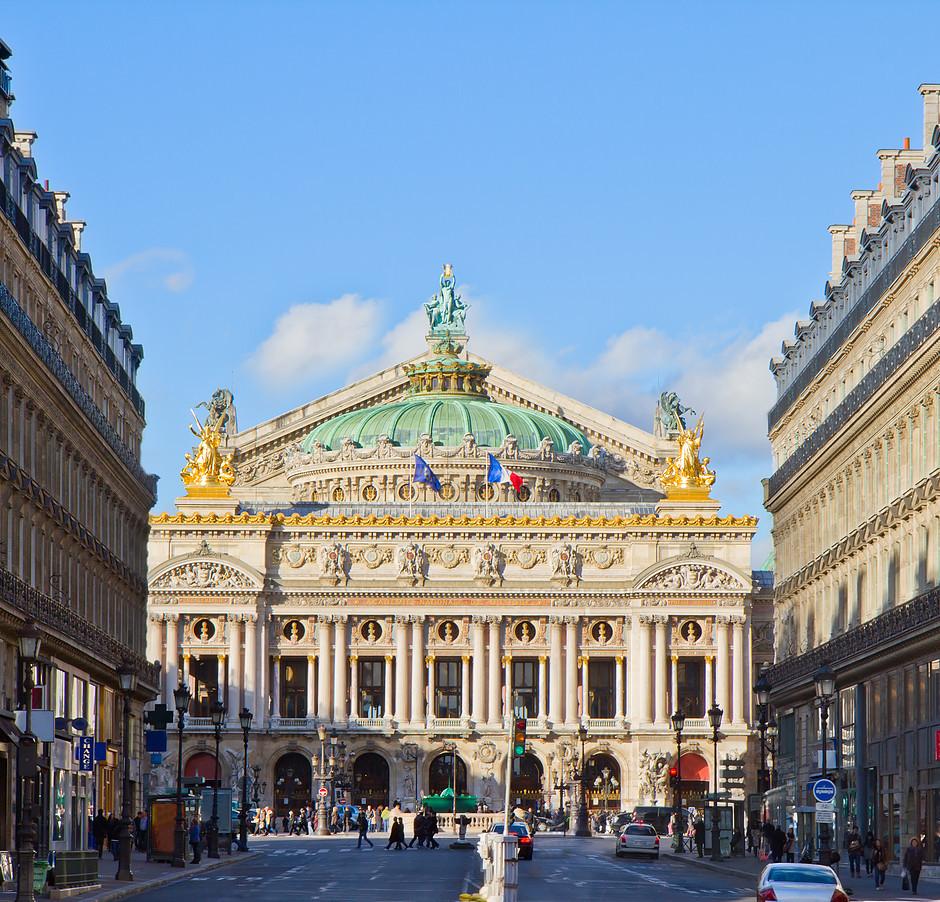 the glamorous facade of the Paris Opera house