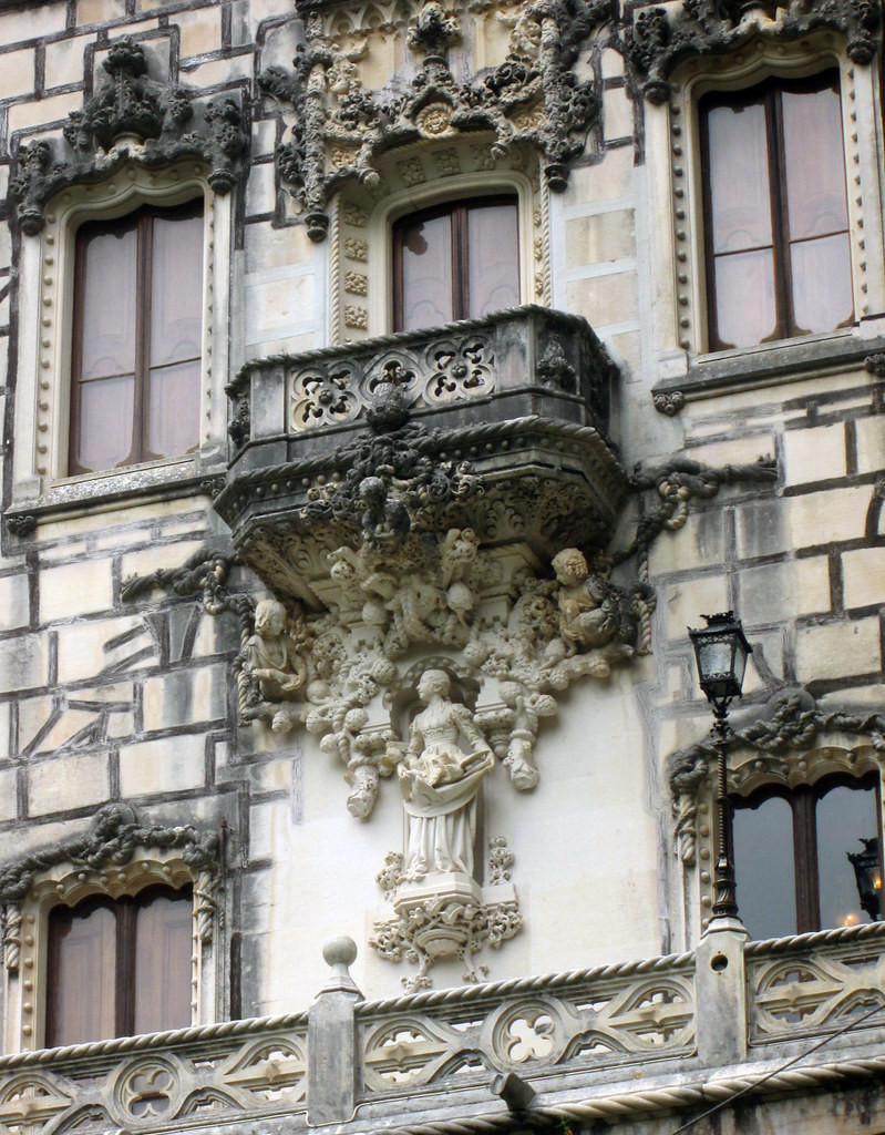 detail on the facade of the Palace of Quinta da Regaleira in Sintra Portugal