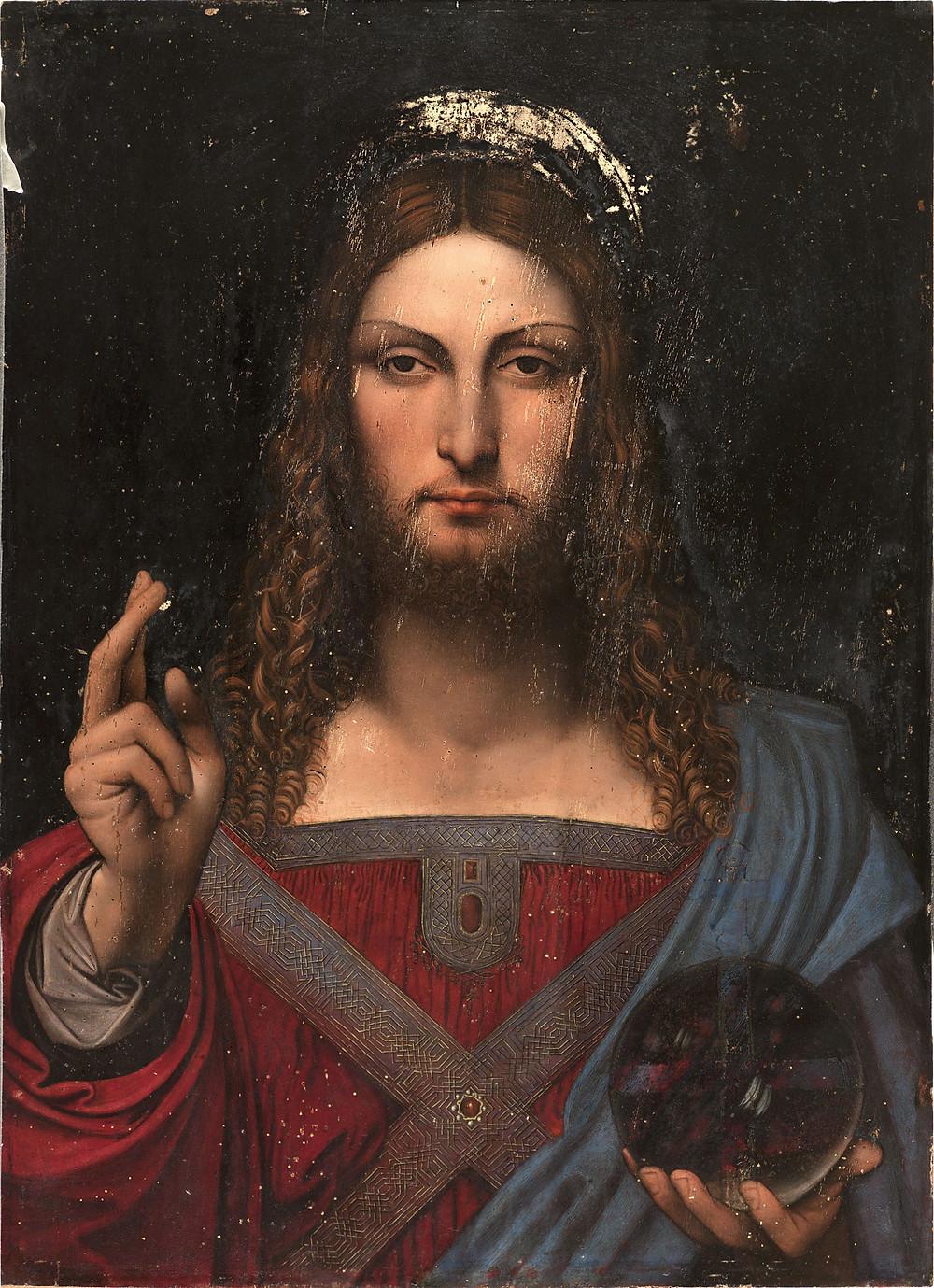 one of many copies of Salvator Mundi -- School of Leonardo da Vinci, Salvator Mundi (c. 1503), Museo Diocesano, Napoli