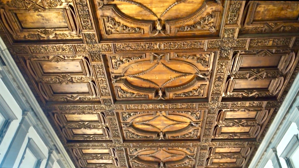 gilded ceiling in the reading room of the Laurentian Library