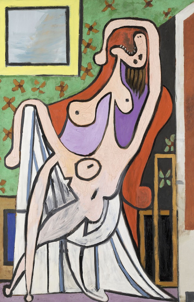 a blistering depiction of Picasso's wife Olga: Grand Nu au Fauteuil Rouge, 1929