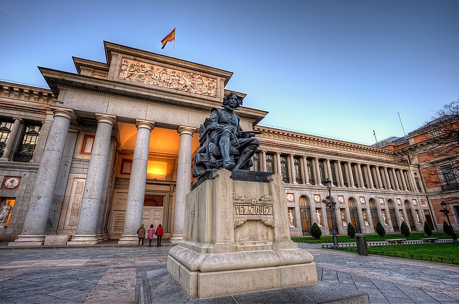 the Velázquez entrance of the Prado Museum in Madrid Spain