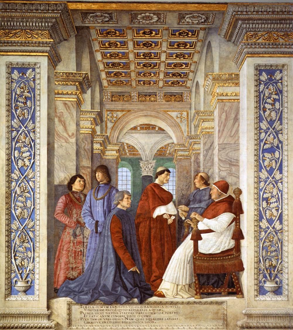 Melozza de Forli, Sixtus IV Founding the Vatican Library, 1477