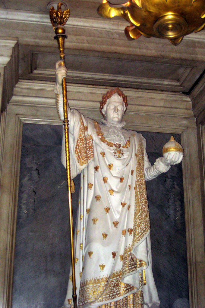 the definitely not life size statute of Napoleon in the crypt of the royal chapel