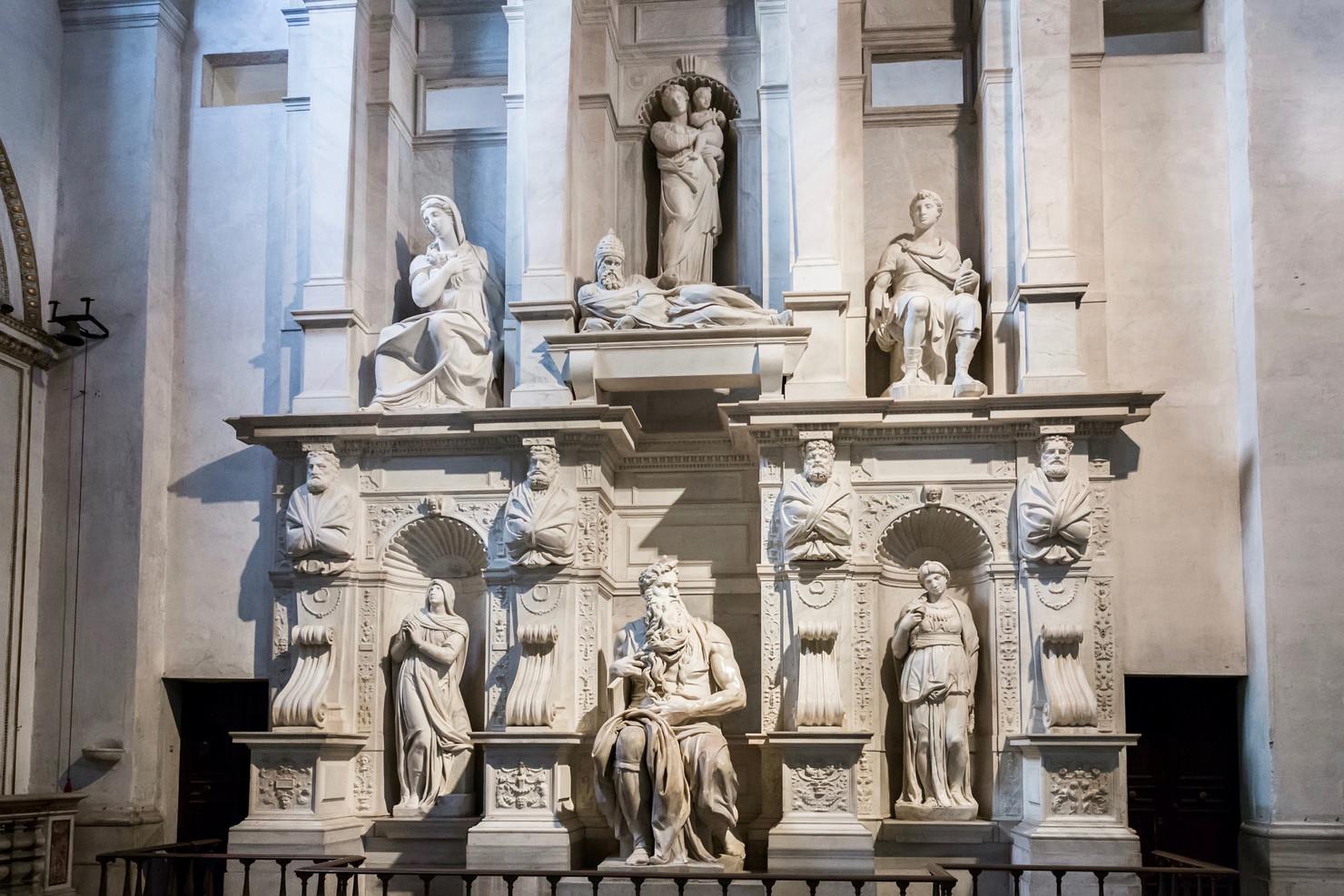 the Michelangelo-designed tomb or Pope Julius II
