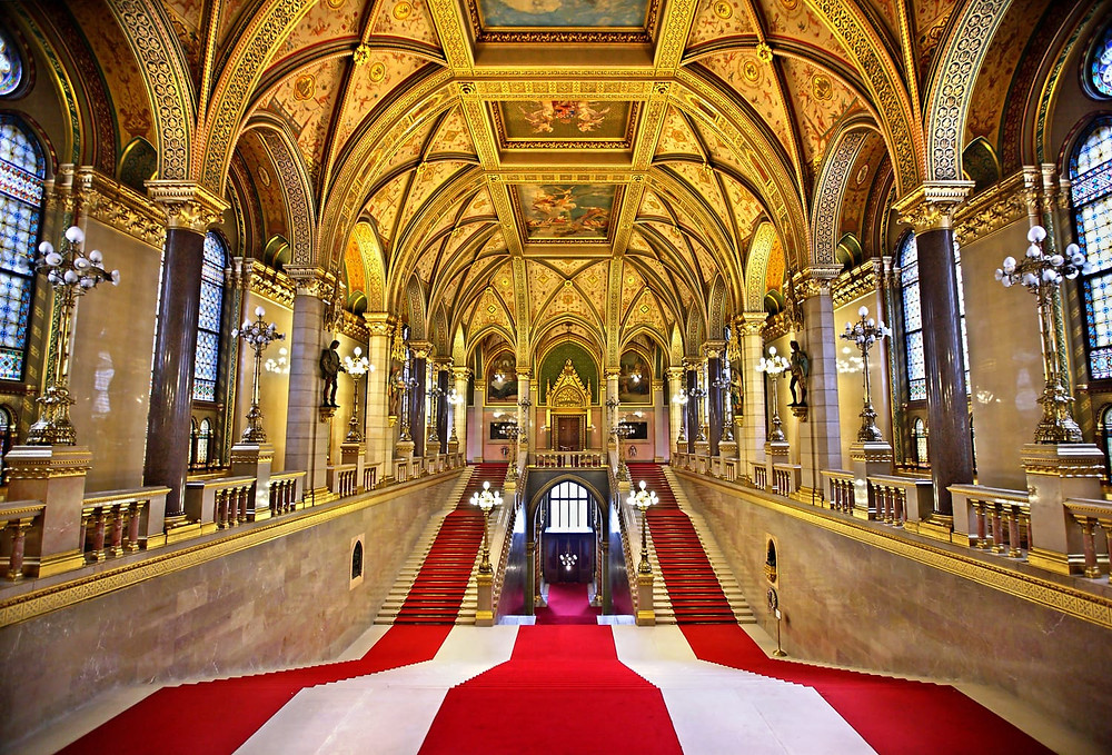 the Grand Staircase of Budapest Parliament