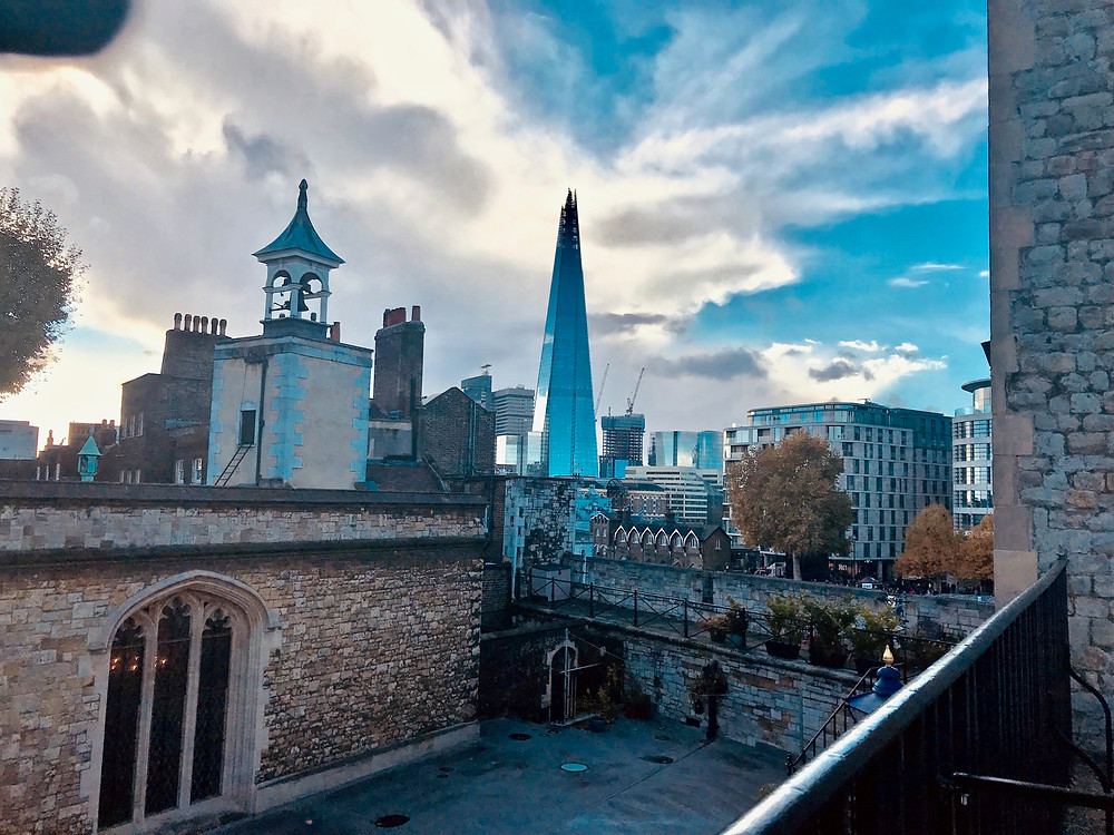 an interesting juxtaposition of old and new -- a view of the Shard from the Tower of London