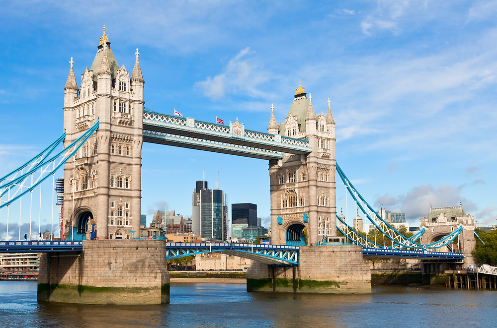 the beautiful Tower Bridge in London, one of the city's defining landmarks