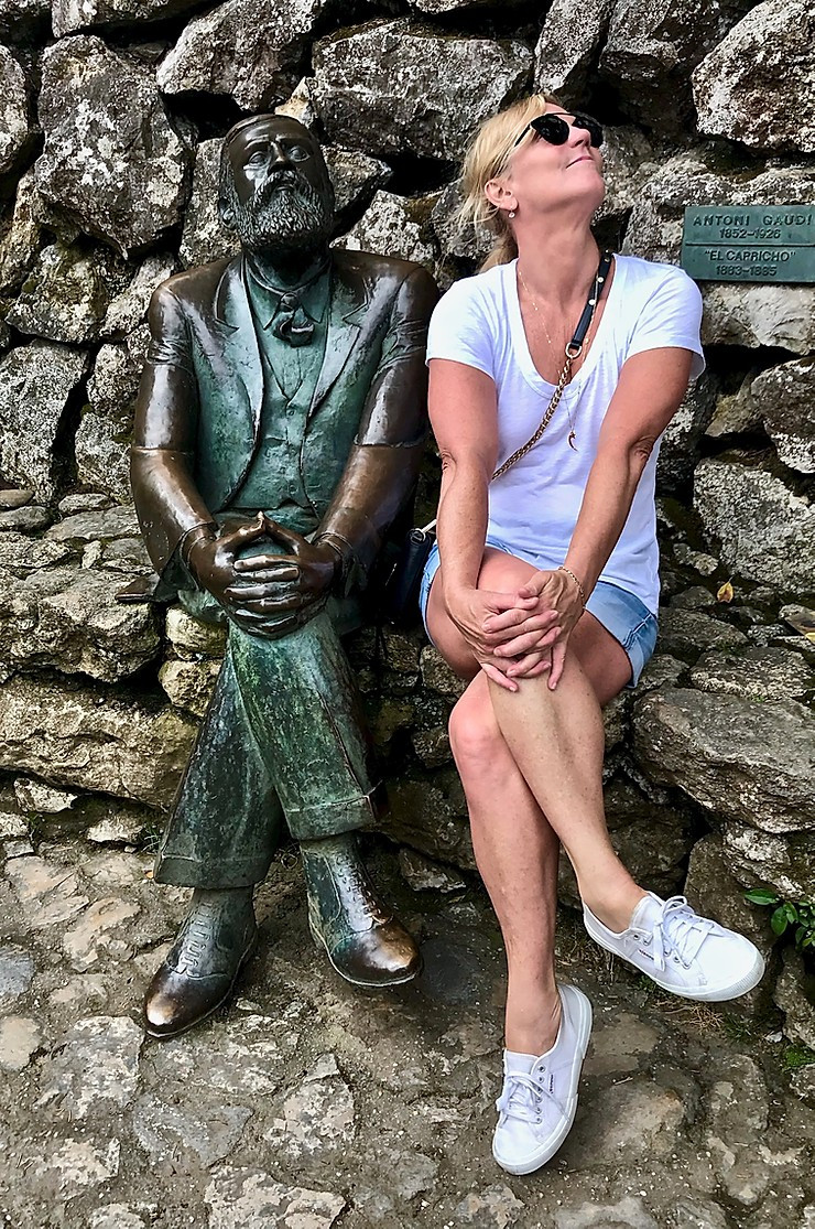 me hanging out with a statue of Gaudi at El Capricho in Comillas in the Cantabrian region of northern Spain