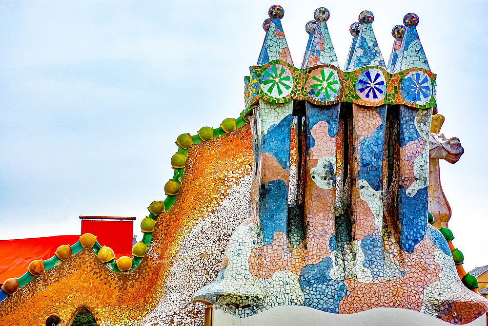 the colorful rooftop of Casa Batlló
