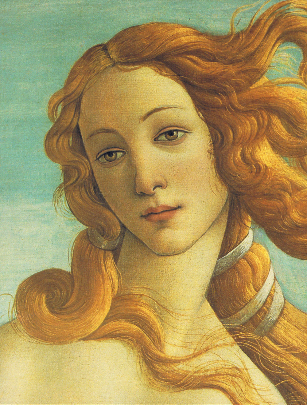 detail of Venus in Botticelli's most famous painting, The Birth of Venus
