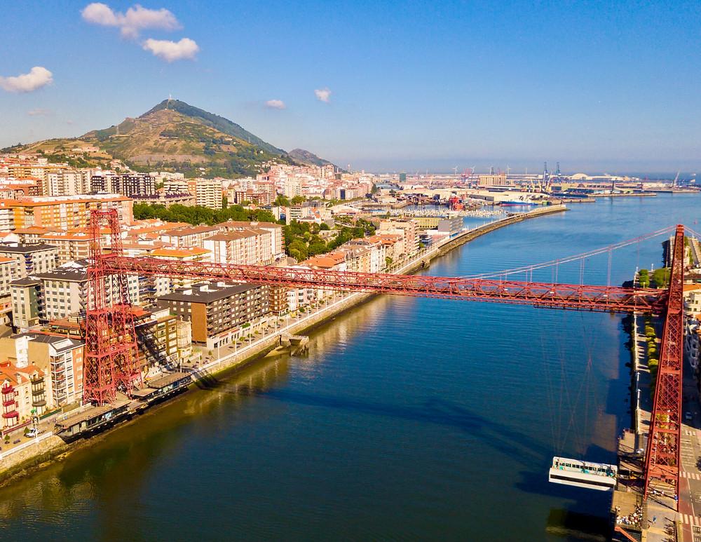 the UNESCO-listed Vizcaya Bridge in Bilbao