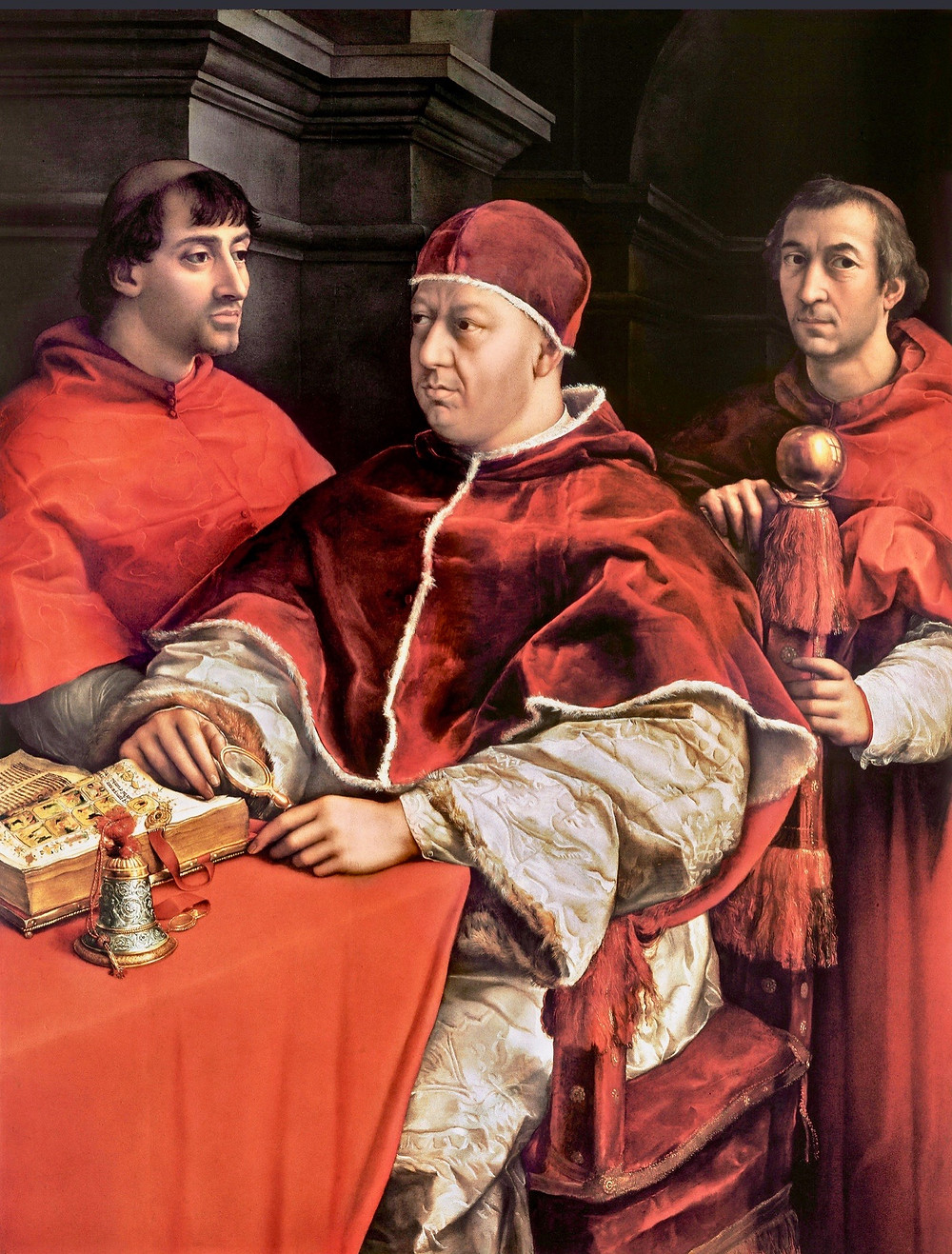 Raphael, Pope Leo X with Cardinals Giulio de' Medici and Luigi, 1517