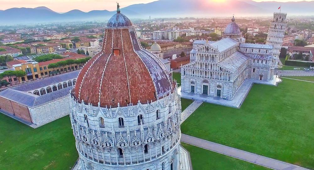 aerial view of Pisa's Field of Miracles