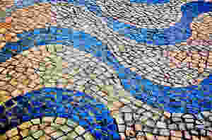 the swirling pavers of Lisbon's colorful sidewalks