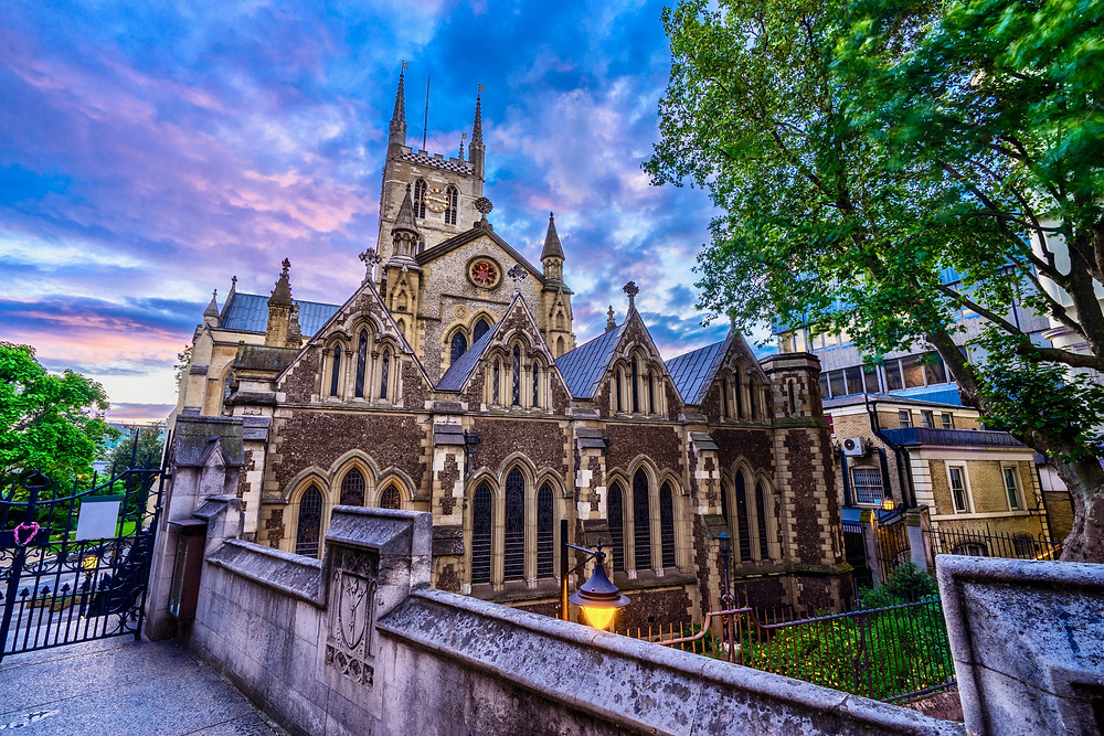 Southwark Cathedral at sunset, on the South Thames bank of London