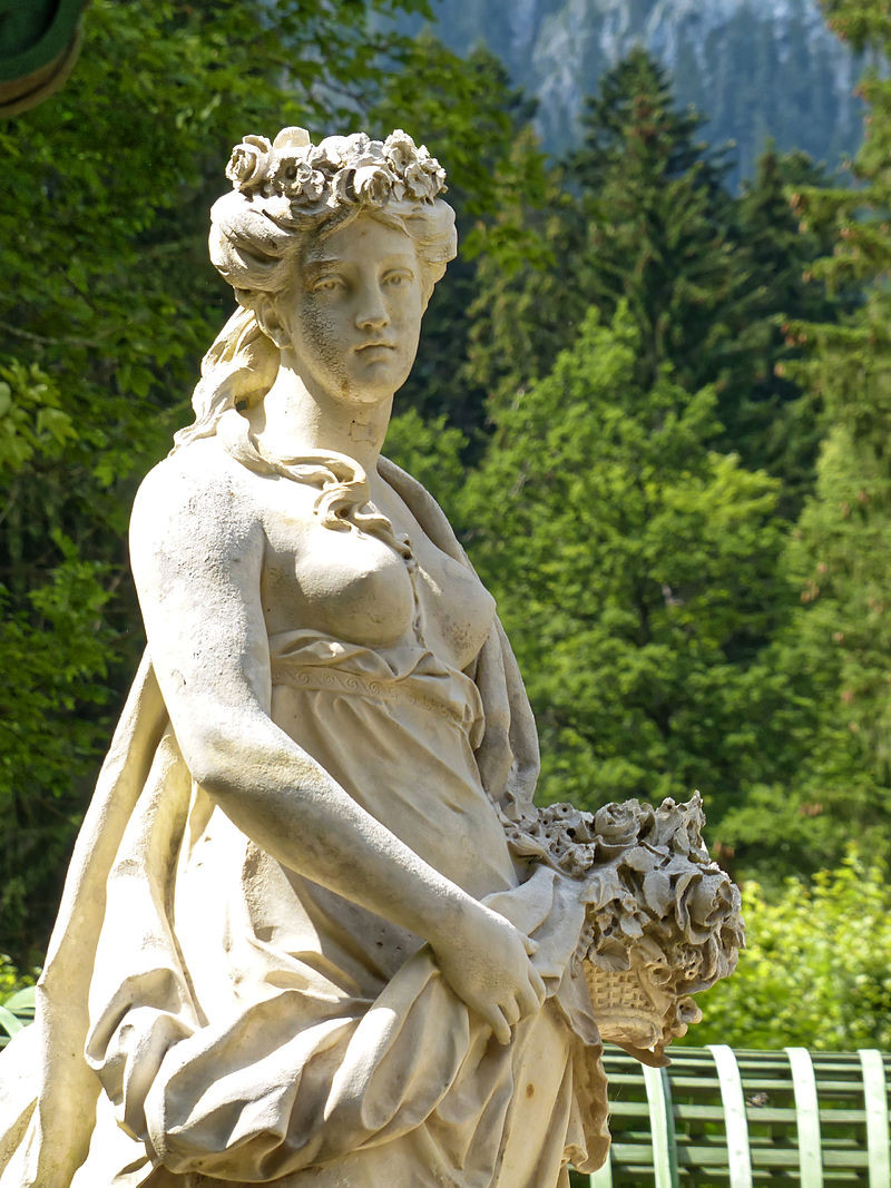 Marie Antoinette statue in the gardens of Linderhof Palace