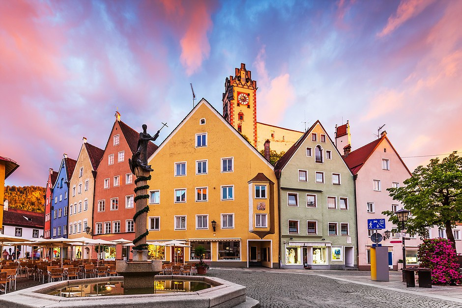beautiful pastel houses in Fussen Germany