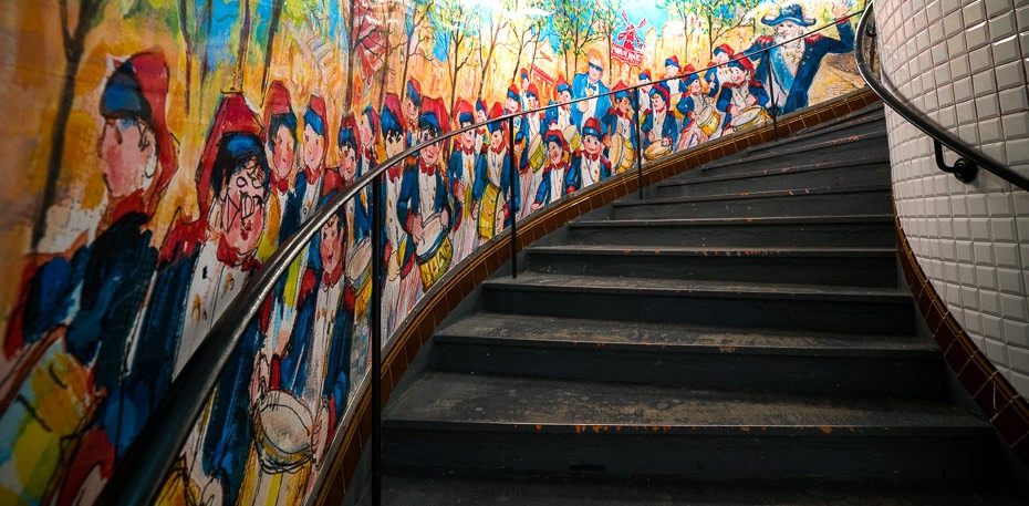 paintings in the Abbesses metro station in Montmartre