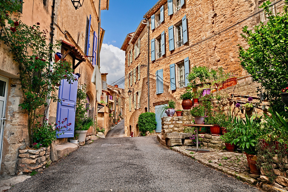the stony shuttered village of Forcalquier in the Luberon Valley